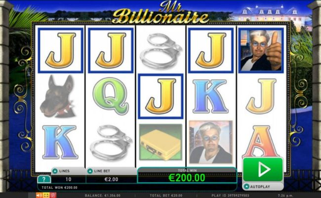 Come On featuring the Video Slots Mr. Billionaire with a maximum payout of $200,000