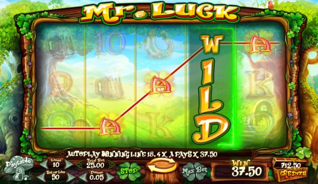 Mr. Luck :: Stacked wild triggers a four of a kind