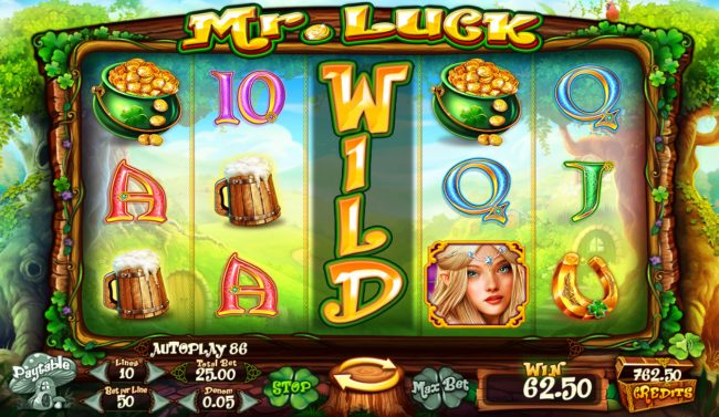 Jellybean Casino featuring the Video Slots Mr. Luck with a maximum payout of $12,500