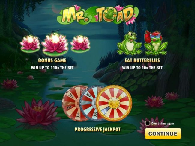 Play slots at Luckland: Luckland featuring the Video Slots Mr. Toad with a maximum payout of $150,000