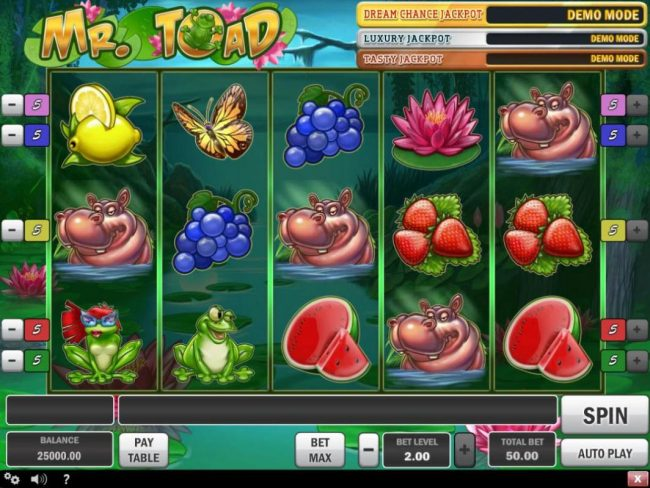 Jellybean Casino featuring the Video Slots Mr. Toad with a maximum payout of $150,000