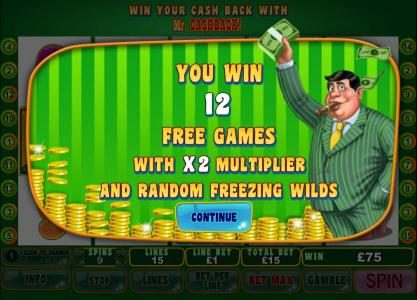 12 free games with an x2 multiplier