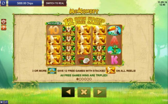 3 or more Mr. Monkey scatter symbols give 12 free games with stacked bananas on all reels! All free games wins are tripled.