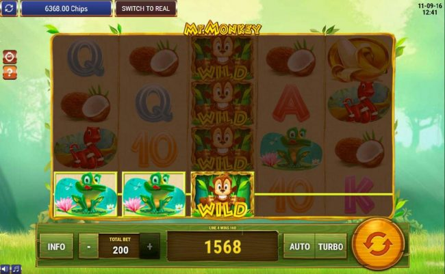 Multiple winning paylines triggers a 1568 coin big win!