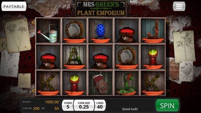 Roadhouse Reels featuring the Video Slots Mrs. Green's Plant Emporium with a maximum payout of $20,000