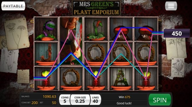 Treasure Island Jackpots featuring the Video Slots Mrs. Green's Plant Emporium with a maximum payout of $20,000