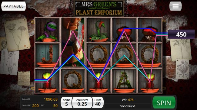 Treasure Mile featuring the Video Slots Mrs. Green's Plant Emporium with a maximum payout of $20,000