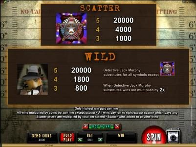 Casino Moons featuring the Video Slots Mugshot Madness with a maximum payout of $100,000