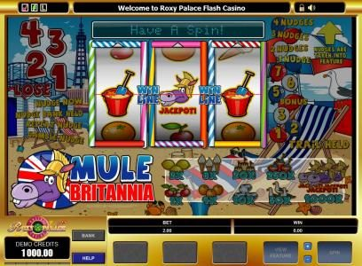 Crazy vegas featuring the Video Slots Mule Britannia with a maximum payout of $10,000