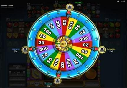 River Belle featuring the Video Slots Multi-Player Wheel of Wealth with a maximum payout of $25,000