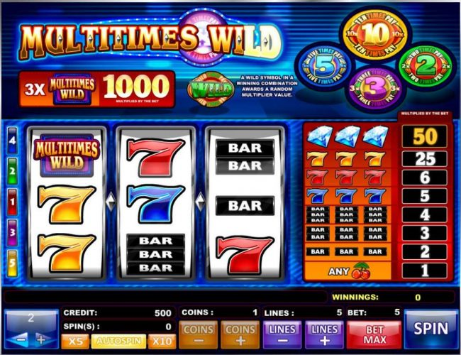 Tangiers featuring the Video Slots Multitimes Wild with a maximum payout of $10,000