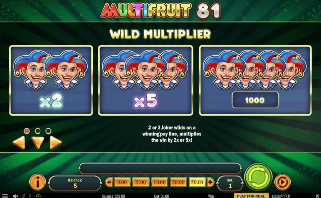 Africa Casino featuring the Video Slots Multifruit 81 with a maximum payout of $10,000