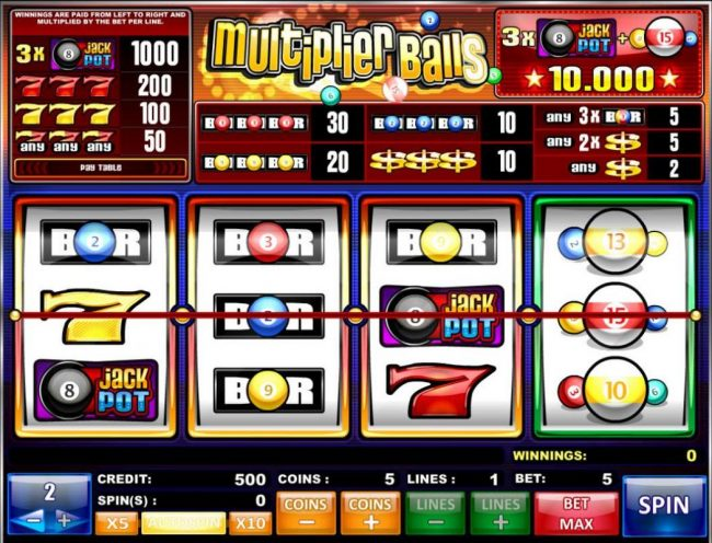 King Billy featuring the Video Slots Multiplier Balls with a maximum payout of $200,000