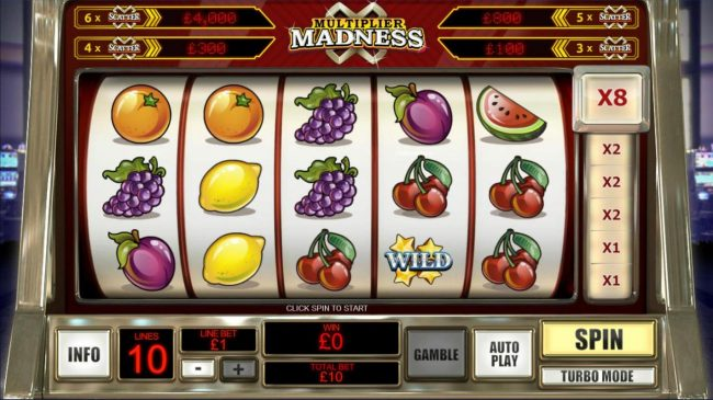 A fruit themed main game board featuring five reels and 10 paylines with a progressive jackpot max payout