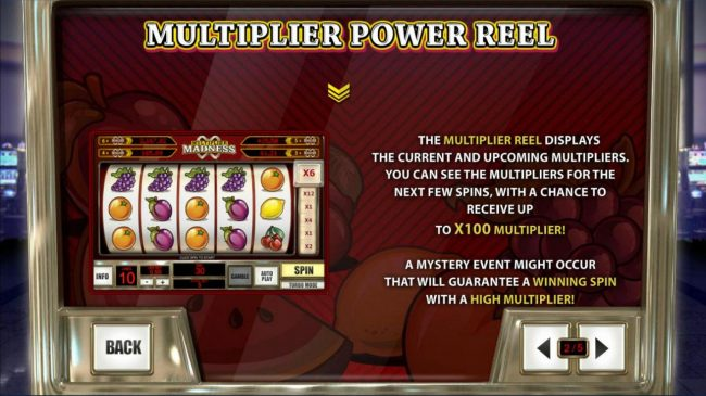 Vernons featuring the Video Slots Multiplier Madness with a maximum payout of Jackpot