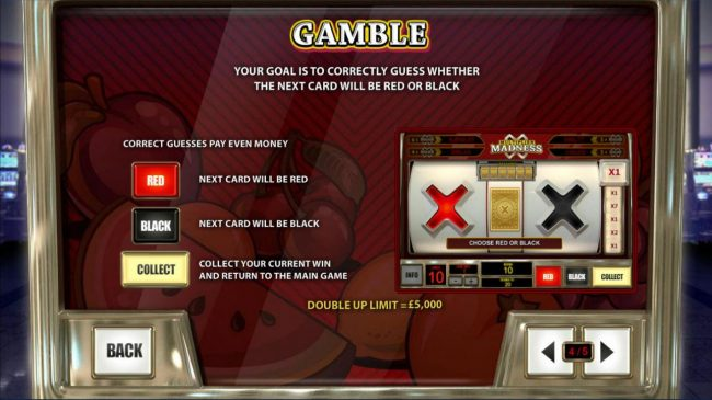 Gamble Feature - Your goal is to correctly guess whether the next color will be red or black.