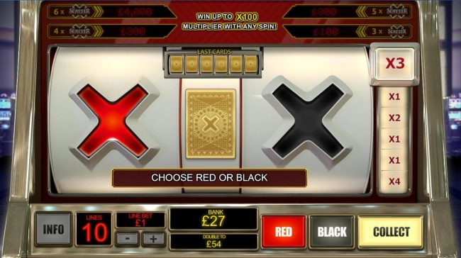 Gamble Feature Game Board - Choose red or black for a chance ot double your winnings.
