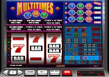 Joe Fortune featuring the Video Slots Multitimes with a maximum payout of $100,000