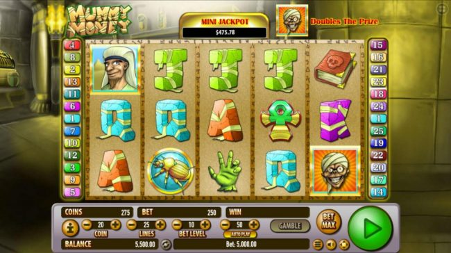 Boaboa featuring the Video Slots Mummy Money with a maximum payout of $250,000