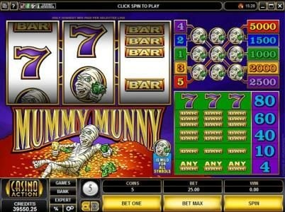 Play slots at Slotty Vegas: Slotty Vegas featuring the Video Slots Mummy Munny with a maximum payout of $25,000