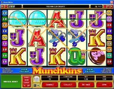 Blackjack Ballroom featuring the Video Slots Munchkins with a maximum payout of $75,000