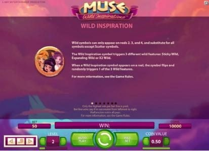 Secret Slots featuring the Video Slots Muse with a maximum payout of $5,000