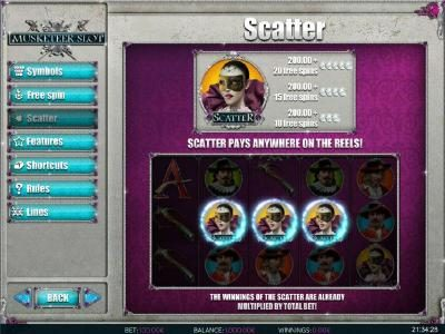 Casdep featuring the Video Slots Muskateer Slot with a maximum payout of $5,000