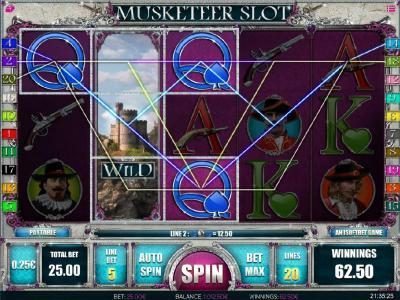 Oshi featuring the Video Slots Muskateer Slot with a maximum payout of $5,000