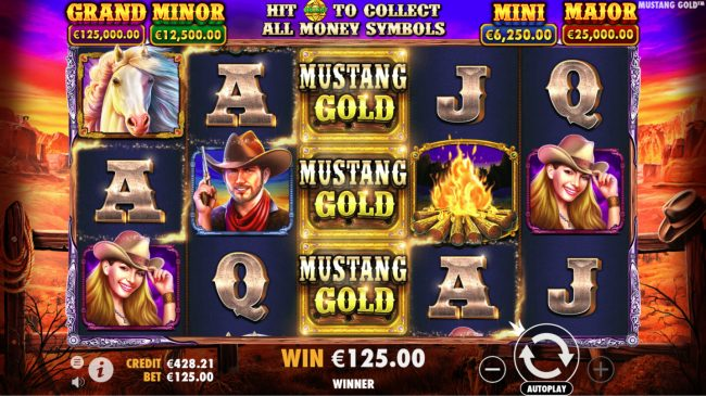 Mayflower featuring the Video Slots Mustang Gold with a maximum payout of $60,000