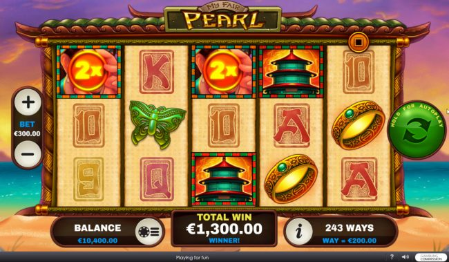 Club Vulkan featuring the Video Slots My Fair Pearl with a maximum payout of $15,000