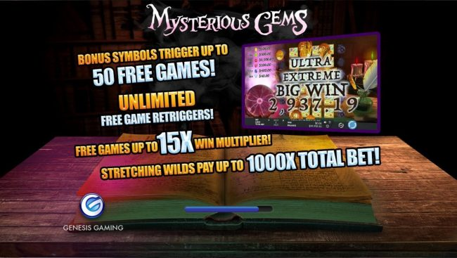 Dragonara featuring the Video Slots Mysterious Gems with a maximum payout of $20,000