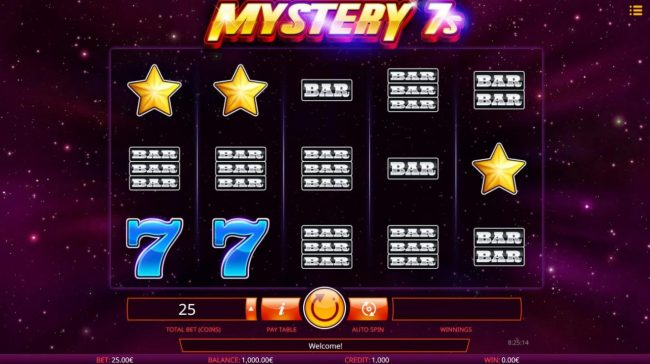 Buran featuring the Video Slots Mystery 7s with a maximum payout of $50,000