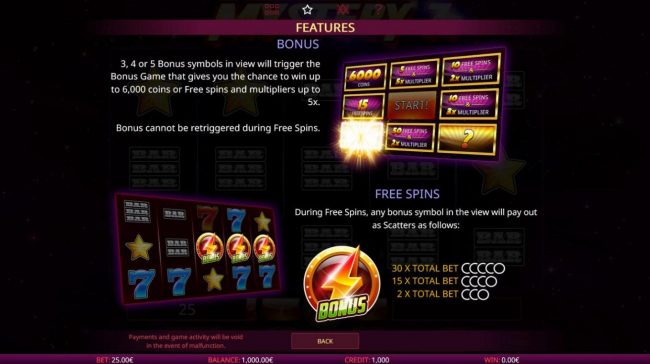 King Billy featuring the Video Slots Mystery 7s with a maximum payout of $50,000
