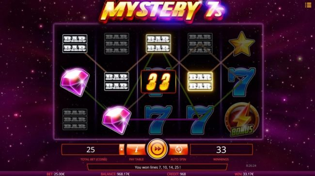 Boaboa featuring the Video Slots Mystery 7s with a maximum payout of $50,000
