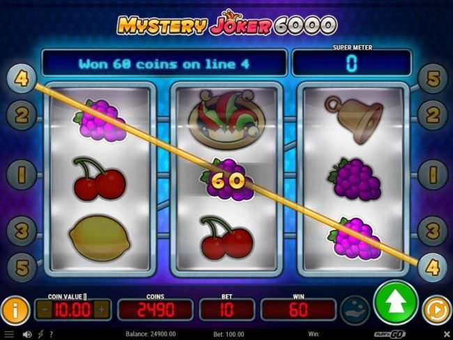 Lord of the Spins featuring the Video Slots Mystery Joker 6000 with a maximum payout of $60,000