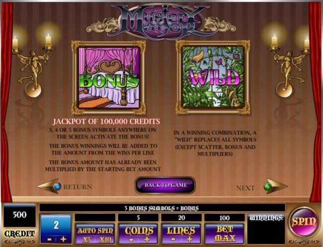 Triple Aces featuring the Video Slots Mystery Manor with a maximum payout of $200,000