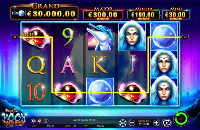 Red Queen featuring the Video Slots Mystic Moon Big Hit Bonanza with a maximum payout of Jackpot