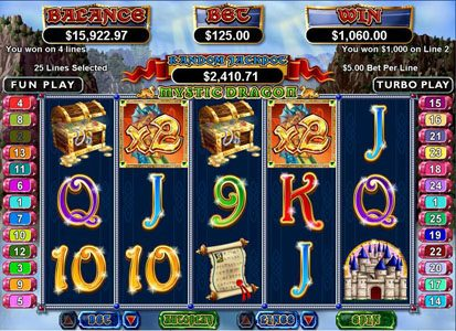 Siver Oak featuring the Video Slots Mystic Dragon with a maximum payout of $250,000