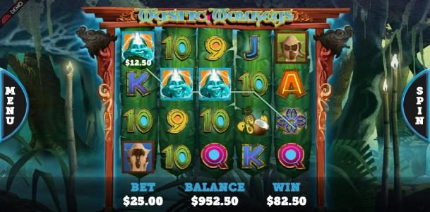 Casimba featuring the Video Slots Mystic Monkeys with a maximum payout of $93,750