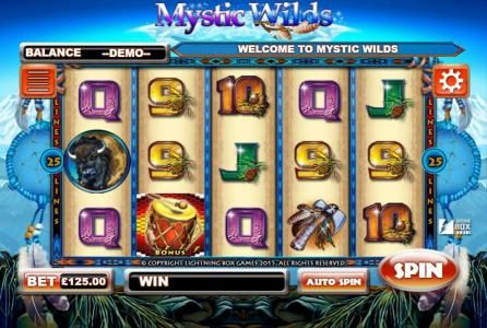 Vegas Winner featuring the Video Slots Mystic Wilds with a maximum payout of 1,250,000x