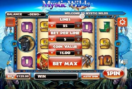 Vegas Baby featuring the Video Slots Mystic Wilds with a maximum payout of 1,250,000x