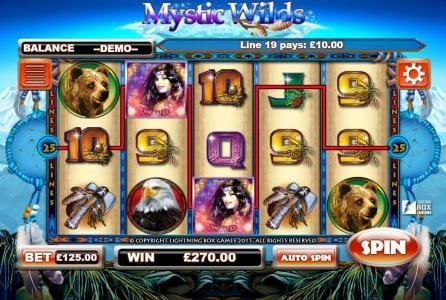 Deuce Club featuring the Video Slots Mystic Wilds with a maximum payout of 1,250,000x