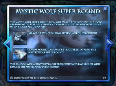 Spartan Slots featuring the Video Slots Mystic Wolf with a maximum payout of $12,500