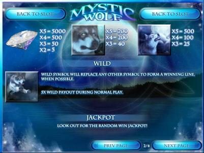 Winward featuring the Video Slots Mystic Wolf with a maximum payout of $12,500