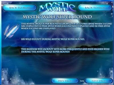 Vegas Aces featuring the Video Slots Mystic Wolf with a maximum payout of $12,500
