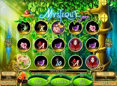 Trada featuring the Video Slots Mystique Grove with a maximum payout of $10,000