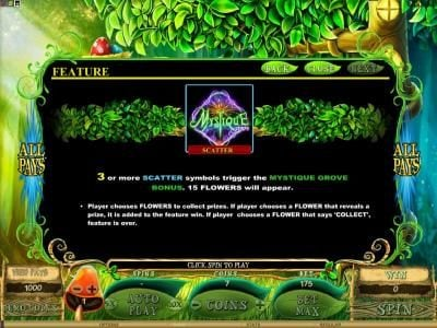 Bonanza featuring the Video Slots Mystique Grove with a maximum payout of $12,500