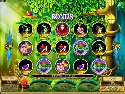 Roxy Palace featuring the Video Slots Mystique Grove with a maximum payout of $12,500