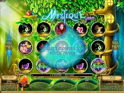 Vegas Slot featuring the Video Slots Mystique Grove with a maximum payout of $12,500