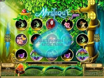 18 Bet featuring the Video Slots Mystique Grove with a maximum payout of $12,500